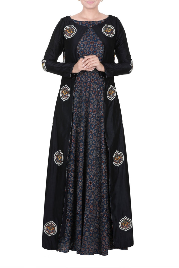 Buy blue ajrakh print chanderi Anarkali online in USA with ajrakh applique cape. Add elegance to your ethnic look with exquisite Indian designer suits, Indian party dresses available at Pure Elegance clothing store in USA or shop online.-full view