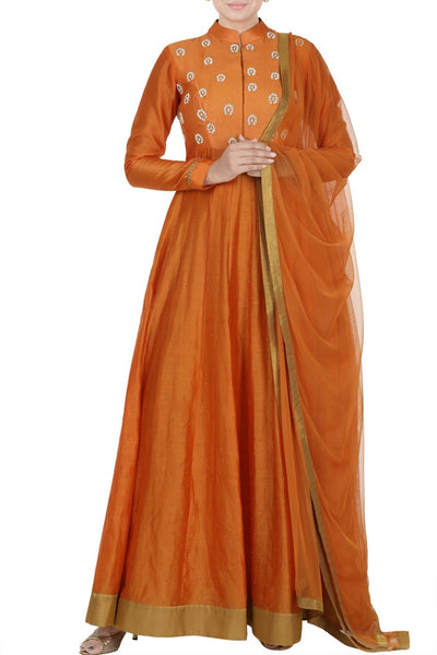 Buy orange embroidered kora chanderi Anarkali suit online in USA with matching dupatta. Add elegance to your ethnic look with exquisite Indian designer suits, Anarkali suits available at Pure Elegance clothing store in USA or shop online.-full view