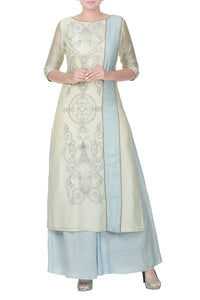 Buy sand beige and bluish grey panelled tunic with palazzo online in USA. Take your Indian style a notch up with exquisite Indian designer suits, Salwar suits available at Pure Elegance clothing store in USA or shop online.-full view