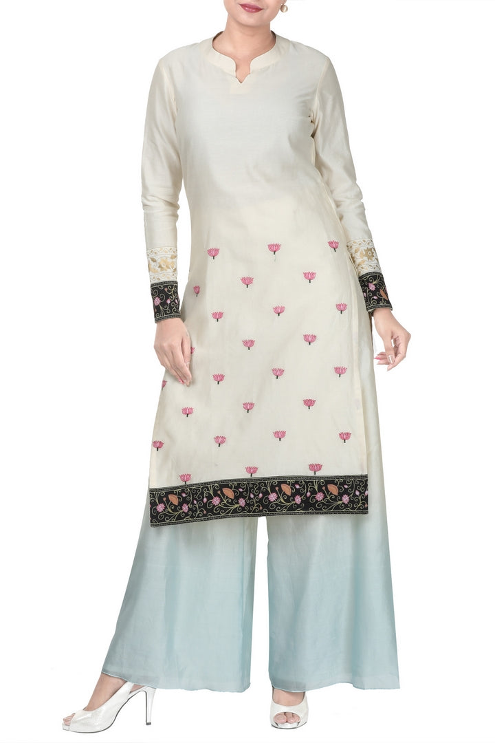 Buy white kora chanderi kurti with pastel blue palazzo online in USA. Take your Indian style a notch up with exquisite Indian designer suits, Salwar suits available at Pure Elegance clothing store in USA or shop online.-full view