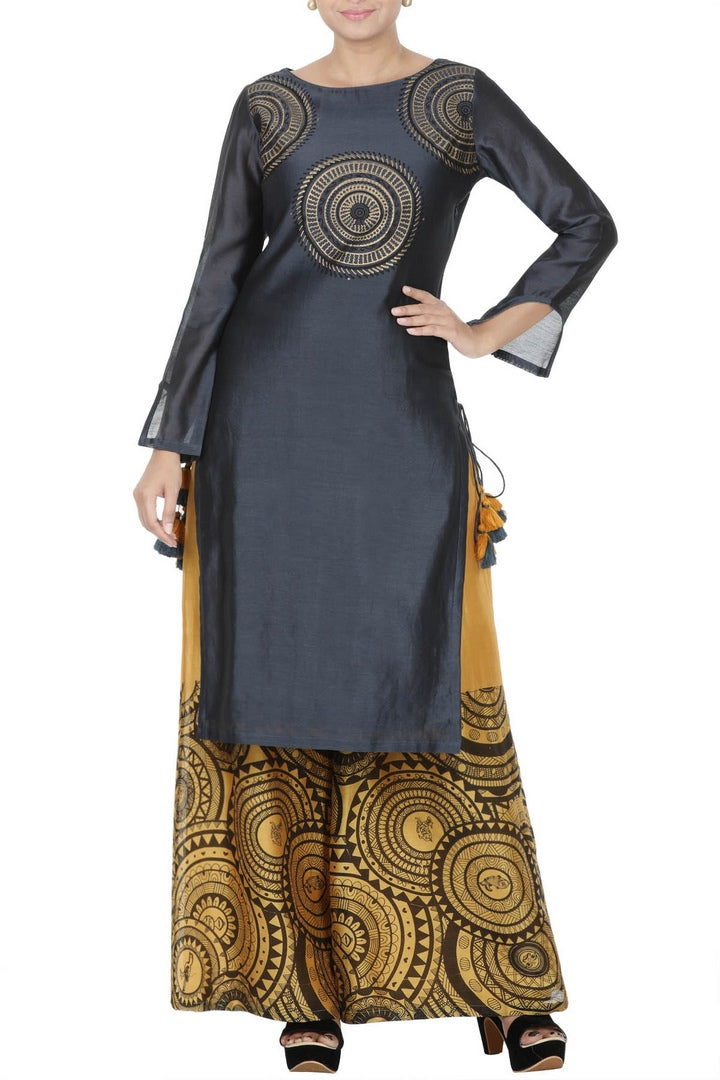 Buy dark blue block print kurti with yellow palazzo online in USA. Take your Indian style a notch up with exquisite Indian designer suits, Salwar suits available at Pure Elegance clothing store in USA or shop online.-full view