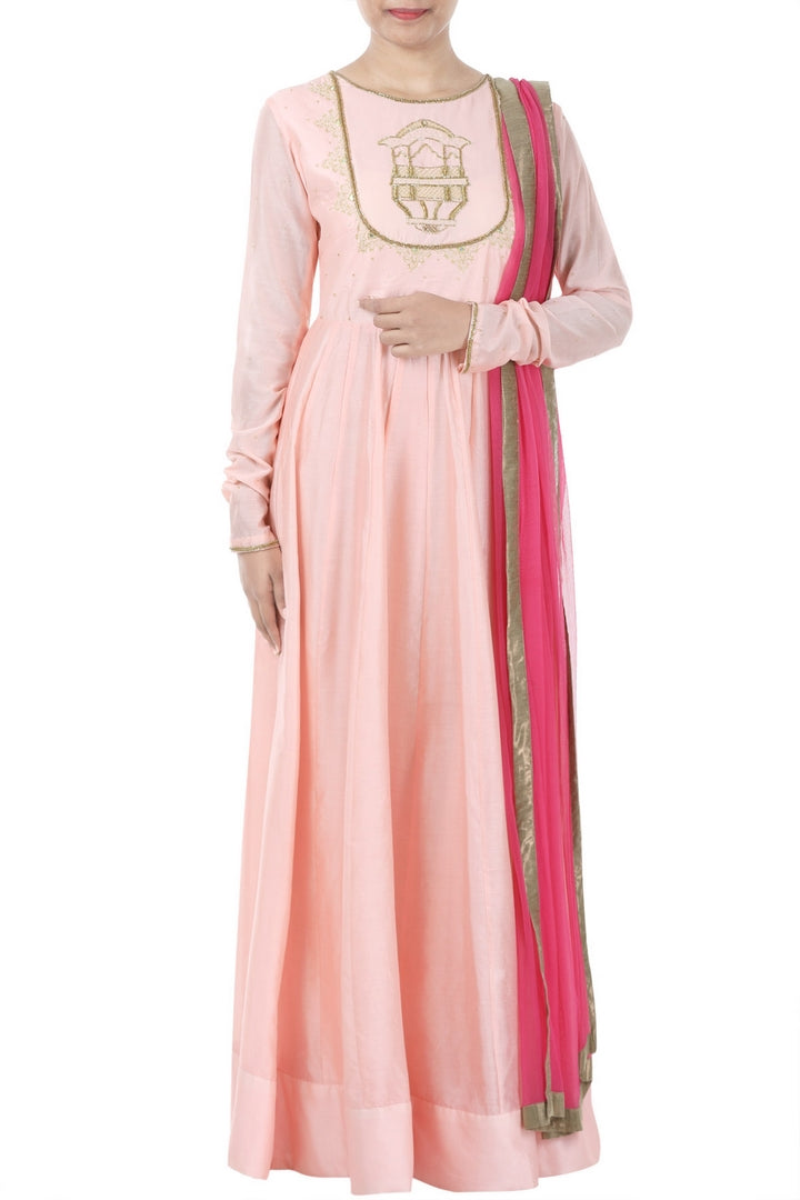 Buy peaching pink zardozi embroidery chanderi Anarkali suit online in USA with hot pink  dupatta. Bring glamor to your Indian style with exquisite Indian designer suits, Anarkali suits, Indian dresses available at Pure Elegance clothing store in USA or shop online.-full view