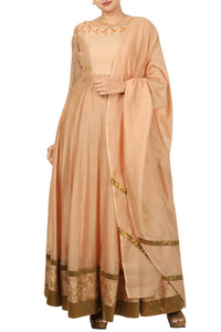 Buy stunning peach Anarkali suit with matching dupatta online in USA. Bring glamor to your Indian style with exquisite Indian designer suits, Anarkali suits, Indian party dresses available at Pure Elegance clothing store in USA or shop online.-full view