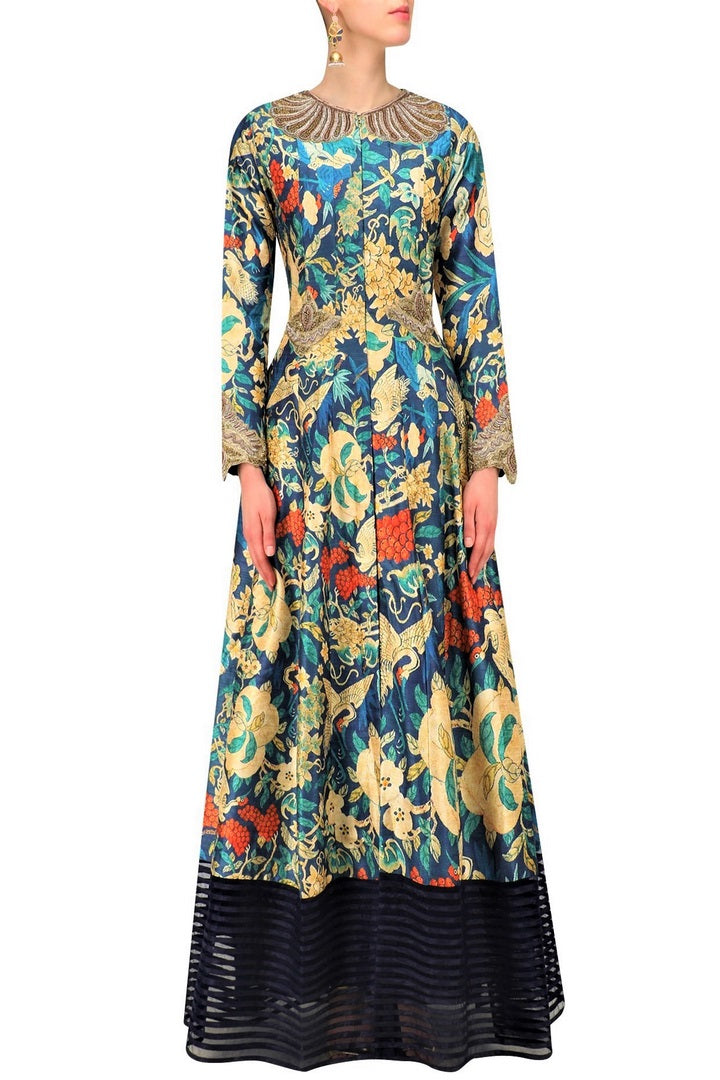Buy navy blue long printed jacket online in USA with palazzo pants. Be the talk of the town in fashionable designer dresses, gowns, Indowestern dresses from Pure Elegance clothing store in USA or shop online.-full view