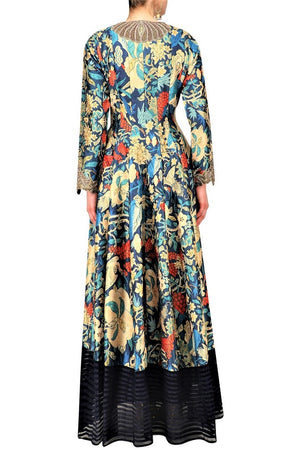 Buy navy blue long printed jacket online in USA with palazzo pants. Be the talk of the town in fashionable designer dresses, gowns, Indowestern dresses from Pure Elegance clothing store in USA or shop online.-back