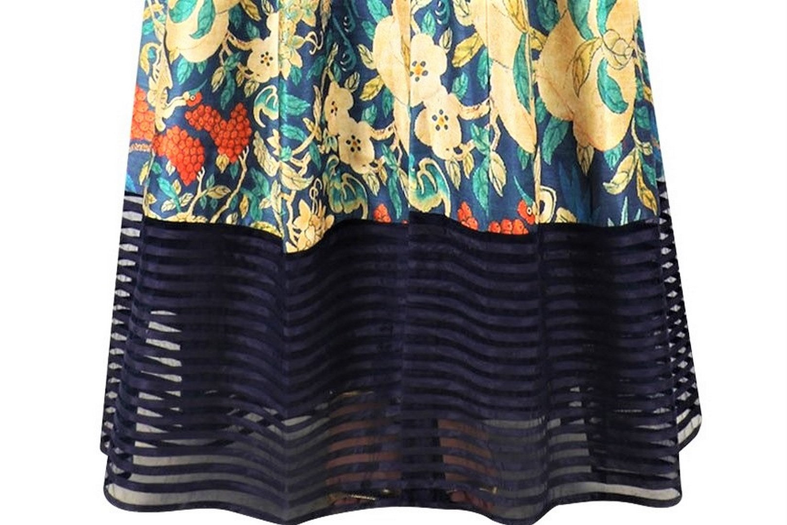 Buy navy blue long printed jacket online in USA with palazzo pants. Be the talk of the town in fashionable designer dresses, gowns, Indowestern dresses from Pure Elegance clothing store in USA or shop online.-bottom