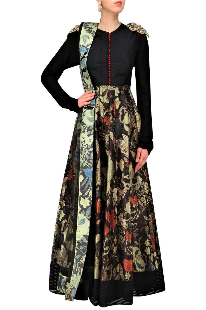 Buy elegant black printed Anarkali online in USA with shoulder embroidery. Be the talk of the town in fashionable designer dresses, gowns, Indowestern dresses from Pure Elegance clothing store in USA or shop online.-full view