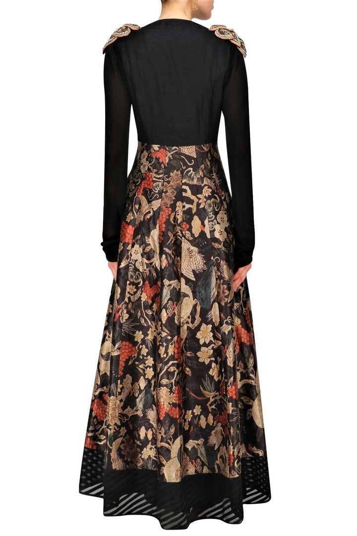 Buy elegant black printed Anarkali online in USA with shoulder embroidery. Be the talk of the town in fashionable designer dresses, gowns, Indowestern dresses from Pure Elegance clothing store in USA or shop online.-back