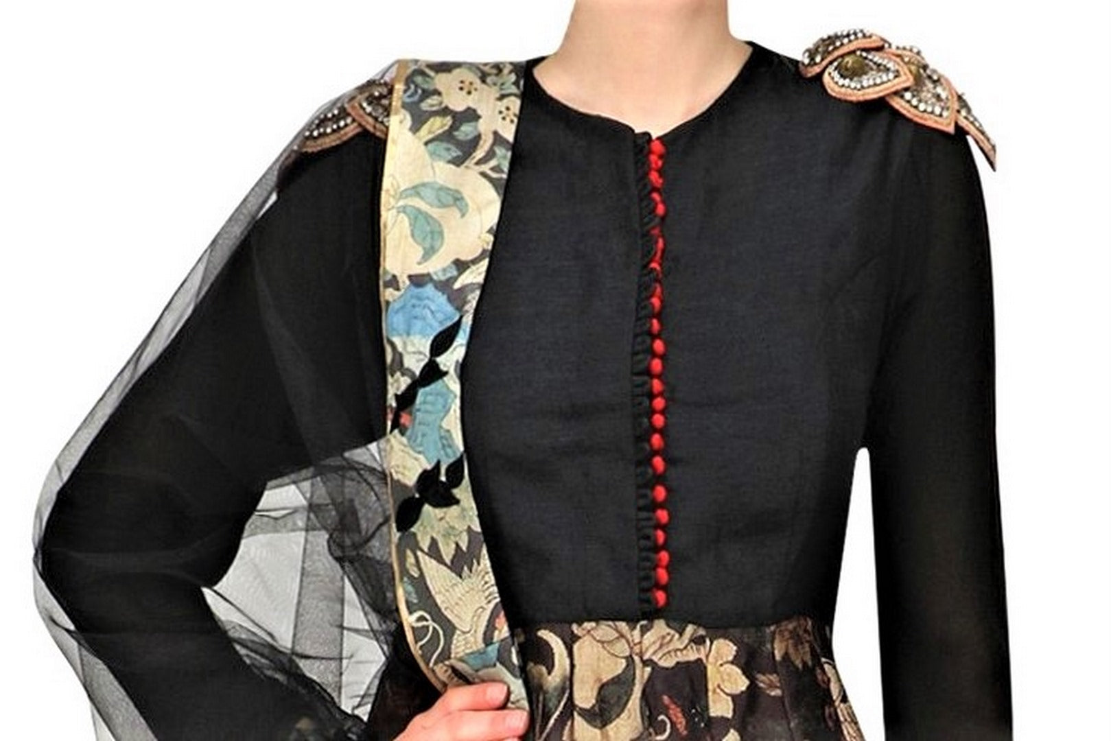 Buy elegant black printed Anarkali online in USA with shoulder embroidery. Be the talk of the town in fashionable designer dresses, gowns, Indowestern dresses from Pure Elegance clothing store in USA or shop online.-top