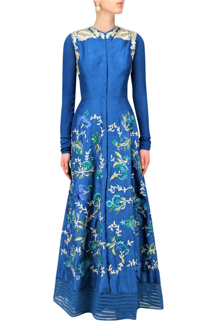 Shop teal embroidered kurta online in USA with palazzo pants. Be the talk of the town in fashionable designer dresses, gowns, Indowestern dresses from Pure Elegance clothing store in USA or shop online.-full view