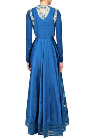 Shop teal embroidered kurta online in USA with palazzo pants. Be the talk of the town in fashionable designer dresses, gowns, Indowestern dresses from Pure Elegance clothing store in USA or shop online.-back