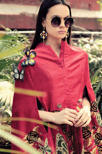 Buy dark red embroidered silk butterfly front open cape with pants online in USA. Stay updated with latest trends and styles with designer dresses, gowns, Indowestern dresses from Pure Elegance clothing store in USA or shop online.-full view