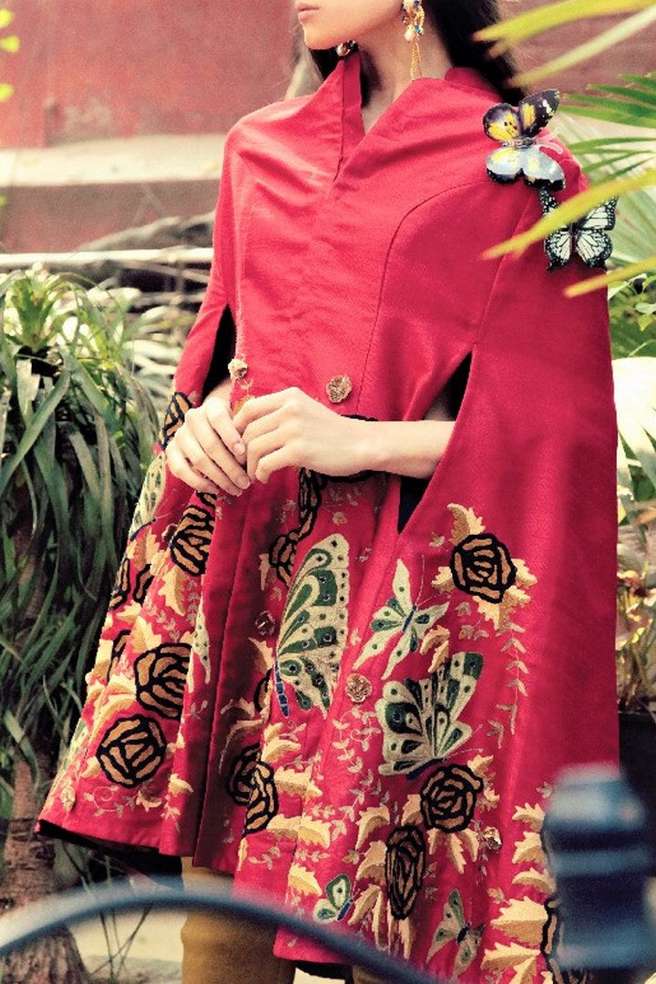 Buy dark red embroidered silk butterfly front open cape with pants online in USA. Stay updated with latest trends and styles with designer dresses, gowns, Indowestern dresses from Pure Elegance clothing store in USA or shop online.-side view
