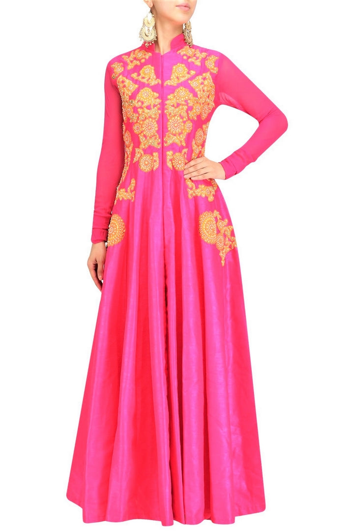 Buy alluring pink Anarkali style jacket with gota patti embroidery online in USA. Be the talk of the town in fashionable designer dresses, gowns, Indowestern dresses from Pure Elegance clothing store in USA or shop online.-full view
