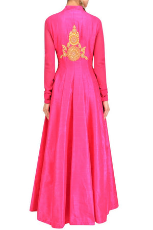 Buy alluring pink Anarkali style jacket with gota patti embroidery online in USA. Be the talk of the town in fashionable designer dresses, gowns, Indowestern dresses from Pure Elegance clothing store in USA or shop online.-back