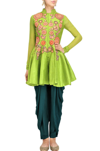 Buy lime green silk gota patti embroidery  jacket with dhoti pants online in USA. Stay updated with latest trends and styles with designer dresses, gowns, Indowestern dresses from Pure Elegance clothing store in USA or shop online.-full view