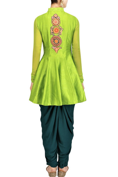 Buy lime green silk gota patti embroidery  jacket with dhoti pants online in USA. Stay updated with latest trends and styles with designer dresses, gowns, Indowestern dresses from Pure Elegance clothing store in USA or shop online.-back