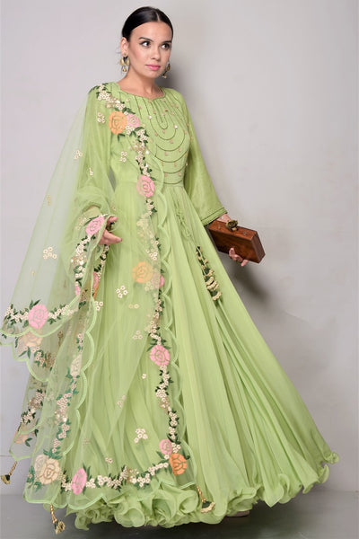 Buy Sage Green Chiffon Anarkali with Net Dupatta online in USA. Bring glamor to your Indian style with exquisite Indian designer suits, Anarkali suits, Indian party dresses available at Pure Elegance clothing store in USA or shop online.-full view