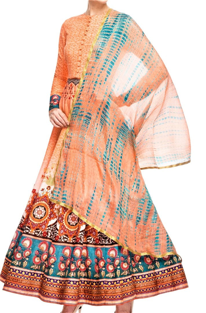 Buy peach color digital print Anarkali online in USA with churidaar. Shine with rich ethnic outfits at weddings and special occasions from Pure Elegance clothing store in USA. An exquisite collection of Indian designer dresses, wedding lehengas, party dresses, and much more is waiting for you on online and in our store.-full view