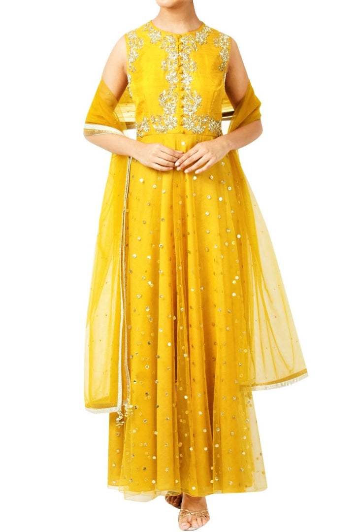Shop bright yellow cold shoulder raw silk Anarkali online in USA with churidaar. Shine with rich ethnic outfits at weddings and special occasions from Pure Elegance clothing store in USA. An exquisite collection of Indian designer dresses, wedding lehengas, party dresses, and much more is waiting for you on online and in our store.-full view