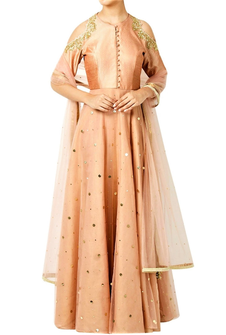 Shop peach cold shoulder raw silk Anarkali online in USA with churidaar. Shine with rich ethnic outfits at weddings and special occasions from Pure Elegance clothing store in USA. An exquisite collection of Indian designer dresses, wedding sarees, party dresses, and much more is waiting for you on online and in our store.-full view