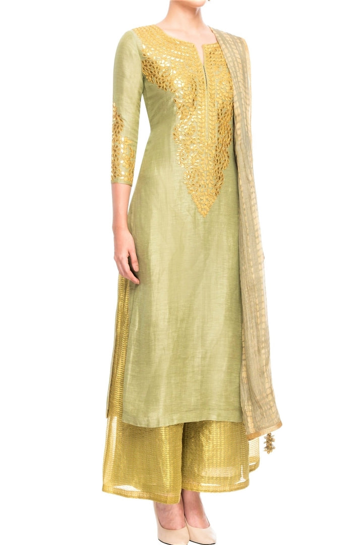 Shop sage green embroidered linen kurta with palazzo online in USA and dupatta. Shine with rich ethnic outfits at weddings and special occasions from Pure Elegance clothing store in USA. An exquisite collection of Indian designer dresses, wedding sarees, party dresses, and much more is waiting for you on online and in our store.-full view