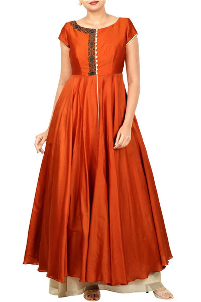 Buy ethnic rust orange and sand beige layered Anarkali online in USA at Pure Elegance. Make your festive collection exquisite with a range of Indian designer dresses, suits, Anarkali dresses from our exclusive clothing store in USA. You can also browse through our online store and shop online.-full view