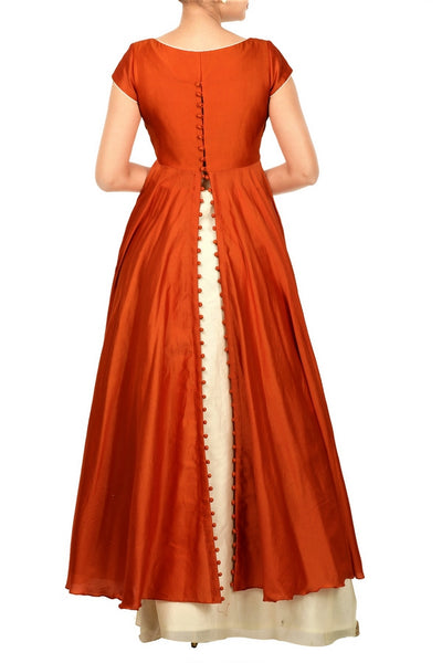 Buy ethnic rust orange and sand beige layered Anarkali online in USA at Pure Elegance. Make your festive collection exquisite with a range of Indian designer dresses, suits, Anarkali dresses from our exclusive clothing store in USA. You can also browse through our online store and shop online.-back
