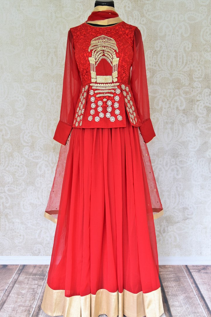 Buy red embroidered georgette silk floor length suit online in USA with dupatta. Find a range of Indian designer suits at Pure Elegance clothing store in USA. Keep your ethnic look perfect with a range of traditional Indian clothing, designer silk sarees, wedding sarees, wedding dresses and much more also available at our online store. -full view