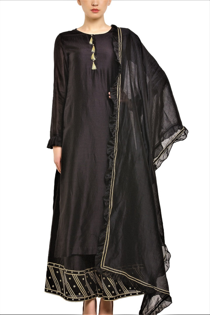 5f038b9d51 Shop black chanderi silk kurta with palazzo online in USA. Find a range of  Indian