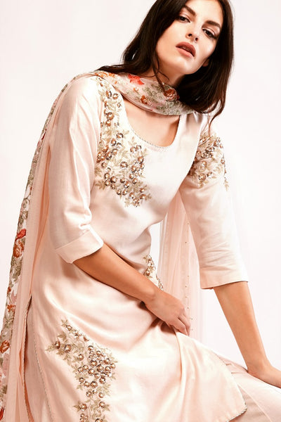 Buy soft pink embroidered chanderi kurta with floral applique sharara online in USA. You can find a fine collection of Indian designer dresses in USA at Pure Elegance clothing store. Our range of traditional Indian clothing, designer silk saris, designer suits,  at our online store is sure to leave you awestruck. -kurta