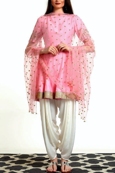 Buy blush pink peplum kurta with white salwar and dupatta online in USA. Get occasion ready with a stunning range of Indian designer suits from Pure Elegance fashion store in USA. We bring the best designer dresses for Indian women in USA at our online store. Shop now.-full view
