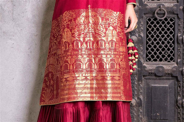 Buy rich maroon embroidered chanderi Anarkali with skirt online in USA. Find a range of exquisite Indian dresses in USA at Pure Elegance clothing store. Enrich your traditional style with a range of Indian clothing, designer Anarkali suits, wedding lehengas, and much more also available at our online store.-design