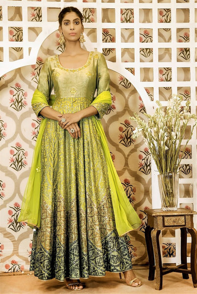 Buy lime green embroidered chanderi Anarkali suit online in USA with dupatta. Find a range of exquisite Indian dresses in USA at Pure Elegance clothing store. Enrich your traditional style with a range of Indian clothing, designer Anarkali suits, wedding lehengas, and much more also available at our online store.-full view