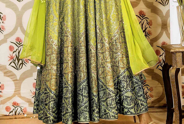 Buy lime green embroidered chanderi Anarkali suit online in USA with dupatta. Find a range of exquisite Indian dresses in USA at Pure Elegance clothing store. Enrich your traditional style with a range of Indian clothing, designer Anarkali suits, wedding lehengas, and much more also available at our online store.-details