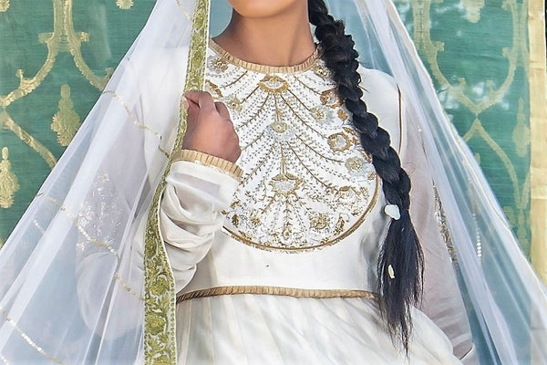 Buy ivory color embroidered chanderi kurta with skirt online in USA and dupatta. Find a range of exquisite Indian dresses in USA at Pure Elegance clothing store. Enrich your traditional style with a range of Indian clothing, designer Anarkali suits, wedding lehengas, and much more also available at our online store.-top