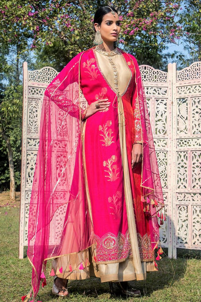 Buy fuschia pink and red embroidered chanderi jacket with Anarkali online in USA. Find a range of exquisite Indian dresses in USA at Pure Elegance clothing store. Enrich your traditional style with a range of Indian clothing, designer Anarkali suits, wedding lehengas, and much more also available at our online store.-full view