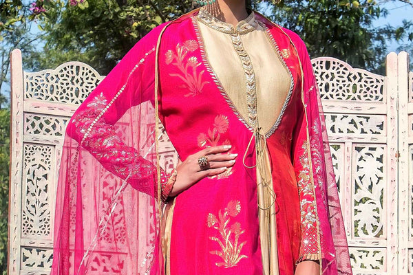Buy fuschia pink and red embroidered chanderi jacket with Anarkali online in USA. Find a range of exquisite Indian dresses in USA at Pure Elegance clothing store. Enrich your traditional style with a range of Indian clothing, designer Anarkali suits, wedding lehengas, and much more also available at our online store.-top
