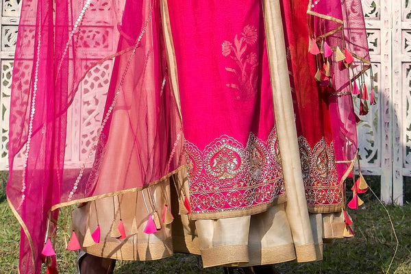 Buy fuschia pink and red embroidered chanderi jacket with Anarkali online in USA. Find a range of exquisite Indian dresses in USA at Pure Elegance clothing store. Enrich your traditional style with a range of Indian clothing, designer Anarkali suits, wedding lehengas, and much more also available at our online store.-bottom
