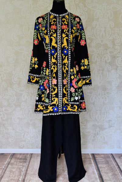 Shop black embroidered linen suit with palazzo online in USA. Elevate your ethnic style with a range of captivating Indian designer clothes from Pure Elegance Indian clothing store in USA. Make the festive season bright with beautiful pure silk saris, Banarasi sarees, designer suits from our online store.-full view
