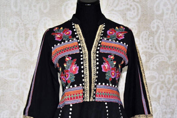 Buy black embroidered linen tunic with palazzo online in USA. Elevate your ethnic style with a range of captivating Indian designer clothes from Pure Elegance Indian clothing store in USA. Make the festive season bright with beautiful pure silk saris, Banarasi saris, designer suits from our online store.-front