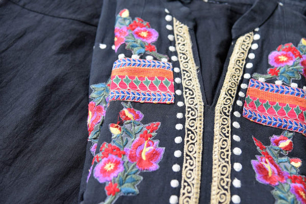 Buy black embroidered linen tunic with palazzo online in USA. Elevate your ethnic style with a range of captivating Indian designer clothes from Pure Elegance Indian clothing store in USA. Make the festive season bright with beautiful pure silk saris, Banarasi saris, designer suits from our online store.-embroidery