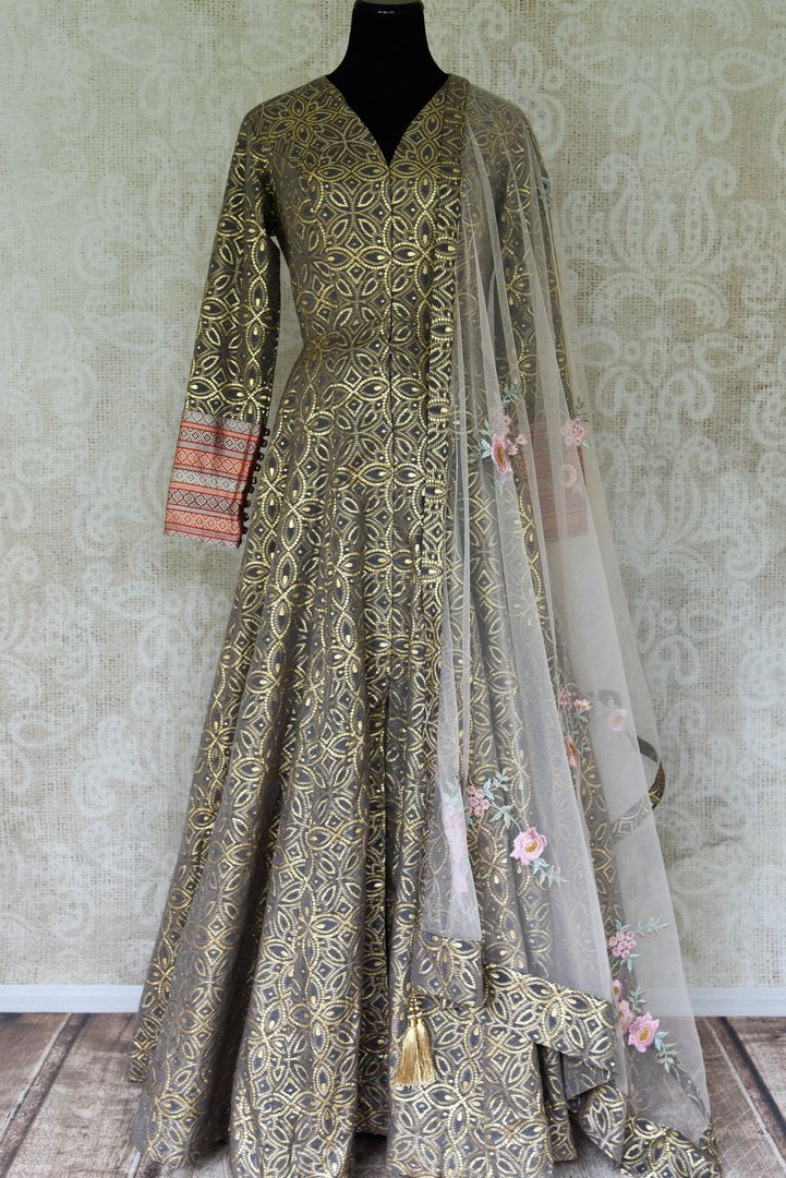 Buy grey zari work chanderi Anarkali with Banarasi sleeves online in USA. Elevate your ethnic style with a range of captivating Indian designer clothing from Pure Elegance Indian clothing store in USA. Add designer suits, embroidered sarees, pure silk saris to your wardrobe for a beautiful look this festive season.-full view