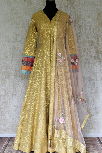 Buy yellow zari work chanderi Anarkali with Banarasi sleeves online in USA. Elevate your ethnic style with a range of captivating Indian designer clothing from Pure Elegance Indian clothing store in USA. Add designer suits, embroidered sarees, pure silk saris to your wardrobe for a beautiful look this festive season.-full view