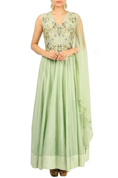 Alluring pastel green embroidered Anarkali suit with single sleeve for online shopping in USA. Make your ethnic wardrobe complete with an exquisite collection of Indian designer clothing from Pure Elegance clothing store in USA. A splendid variety of designer dresses, designer lehenga choli, salwar suits will leave you wanting for more. Shop now.-full view