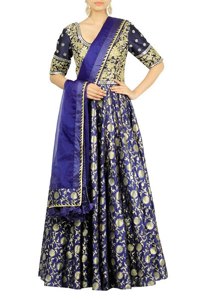 Captivating designer ink blue embroidered Anarkali suit with dupatta for online shopping in USA. Make your ethnic wardrobe complete with an exquisite collection of Indian designer clothing from Pure Elegance clothing store in USA. A splendid variety of designer dresses, designer lehenga choli, salwar suits will leave you wanting for more. Shop now.-full view