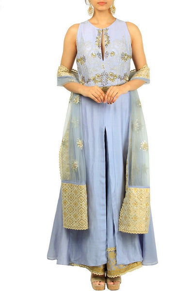 Dusty blue embroidered sleeveless chanderi silk kurta with palazzo for online shopping in USA. Make your ethnic wardrobe complete with an exquisite collection of Indian designer clothing from Pure Elegance clothing store in USA. A splendid variety of designer dresses, designer lehenga choli, salwar suits will leave you wanting for more. Shop now.-full view