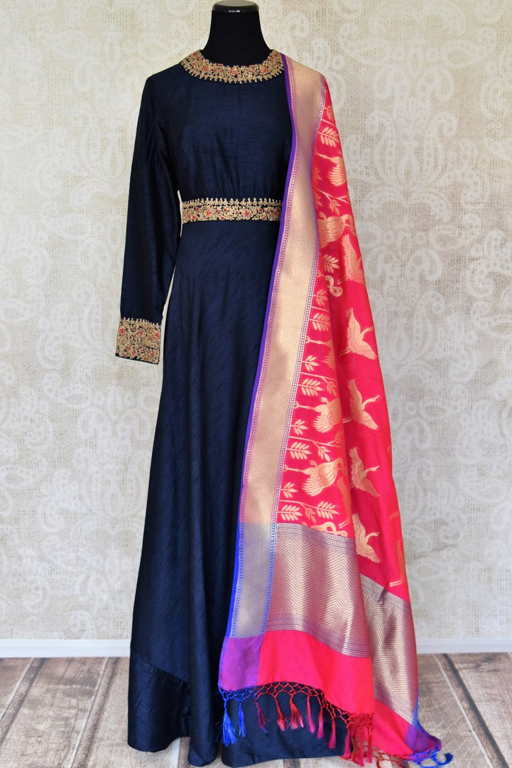 Buy navy blue embroidered floorlength Anarkali with pink dupatta online in USA from Pure Elegance. Add exquisite Indian designer suits, Indian dresses, wedding lehengas in beautiful styles and designs to your ethnic wardrobe from our Indian clothing store in USA or shop online.-full view
