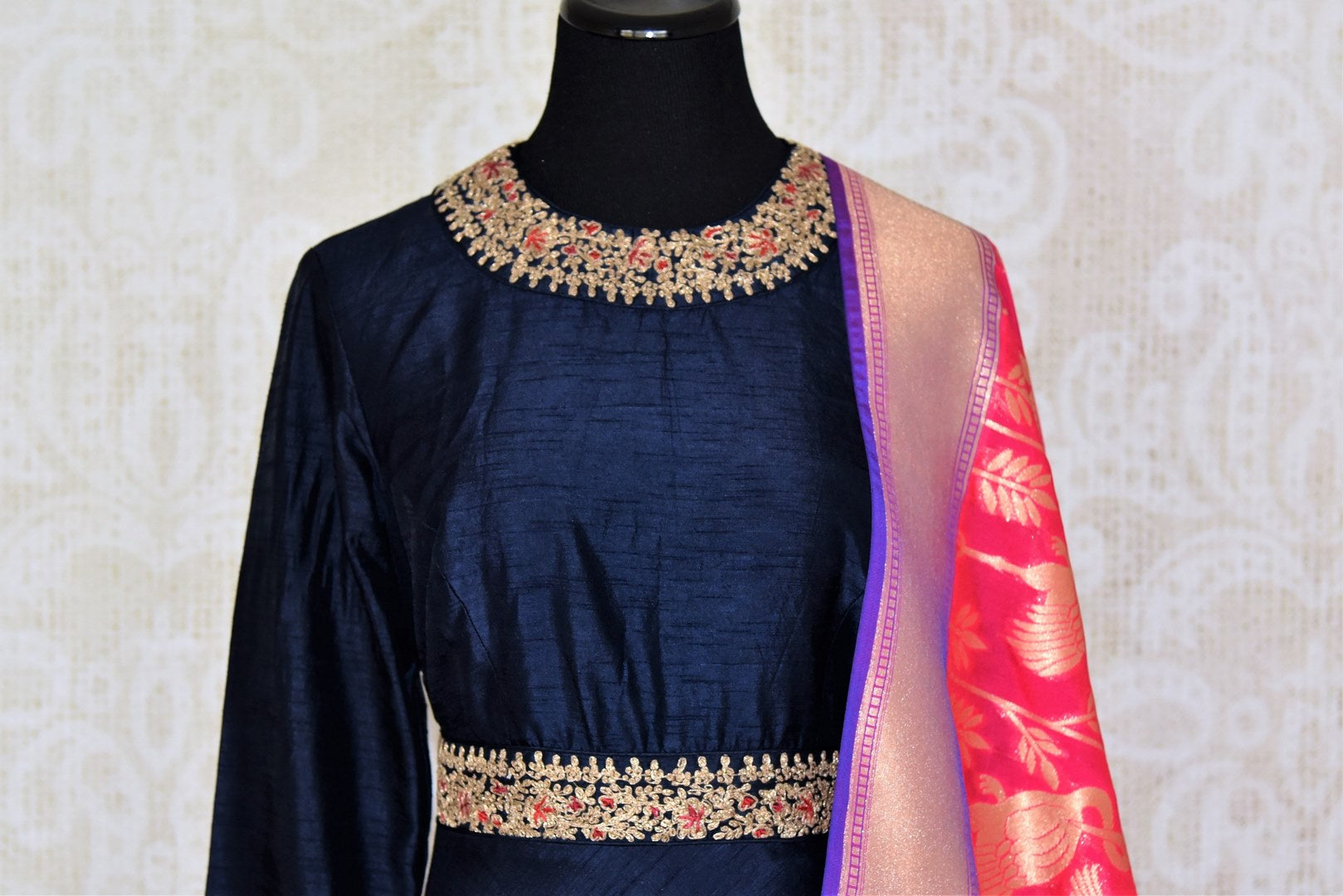 Buy navy blue embroidered floorlength Anarkali with pink dupatta online in USA from Pure Elegance. Add exquisite Indian designer suits, Indian dresses, wedding lehengas in beautiful styles and designs to your ethnic wardrobe from our Indian clothing store in USA or shop online.-front