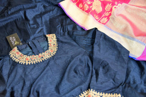 Buy navy blue embroidered floorlength Anarkali with pink dupatta online in USA from Pure Elegance. Add exquisite Indian designer suits, Indian dresses, wedding lehengas in beautiful styles and designs to your ethnic wardrobe from our Indian clothing store in USA or shop online.-details
